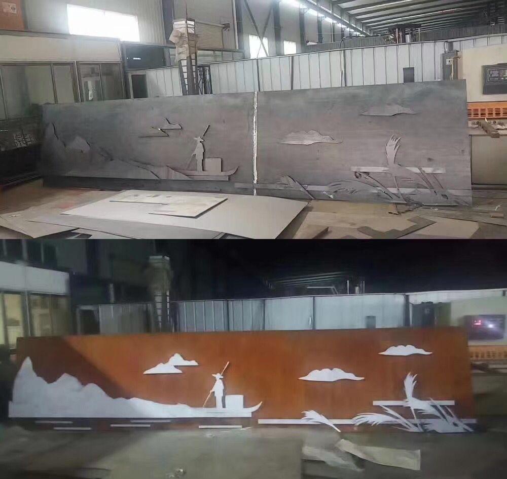 新抚锈钢板景墙